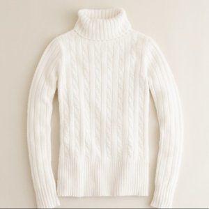 J Crew Cableknit Cream Turtleneck Wool Blend Sweat